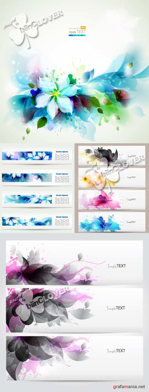 Abstract  floral banners with blots 0401