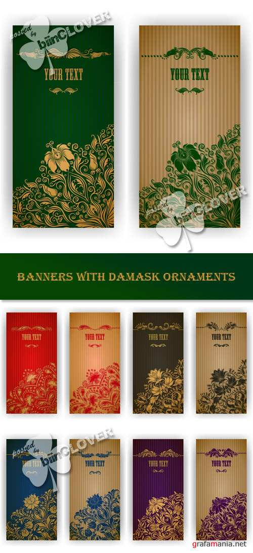 Banners with damask ornaments 0403