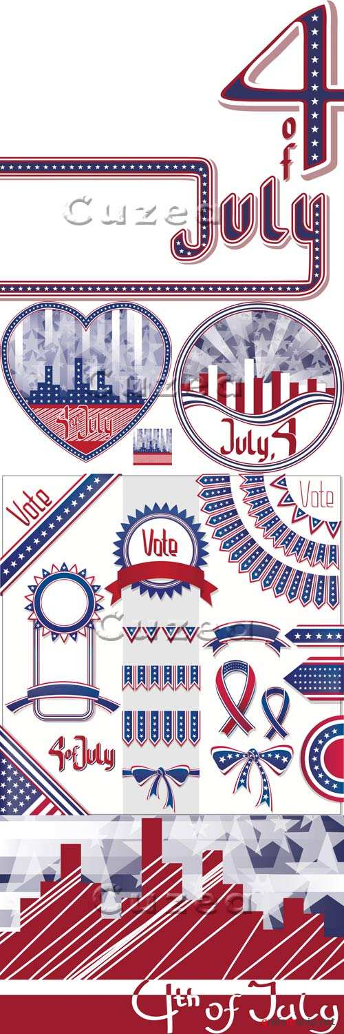 Фоны к 4 Июля дню Независимости США/ Background cityscape with fireworks and scribed Fourth of July in vector