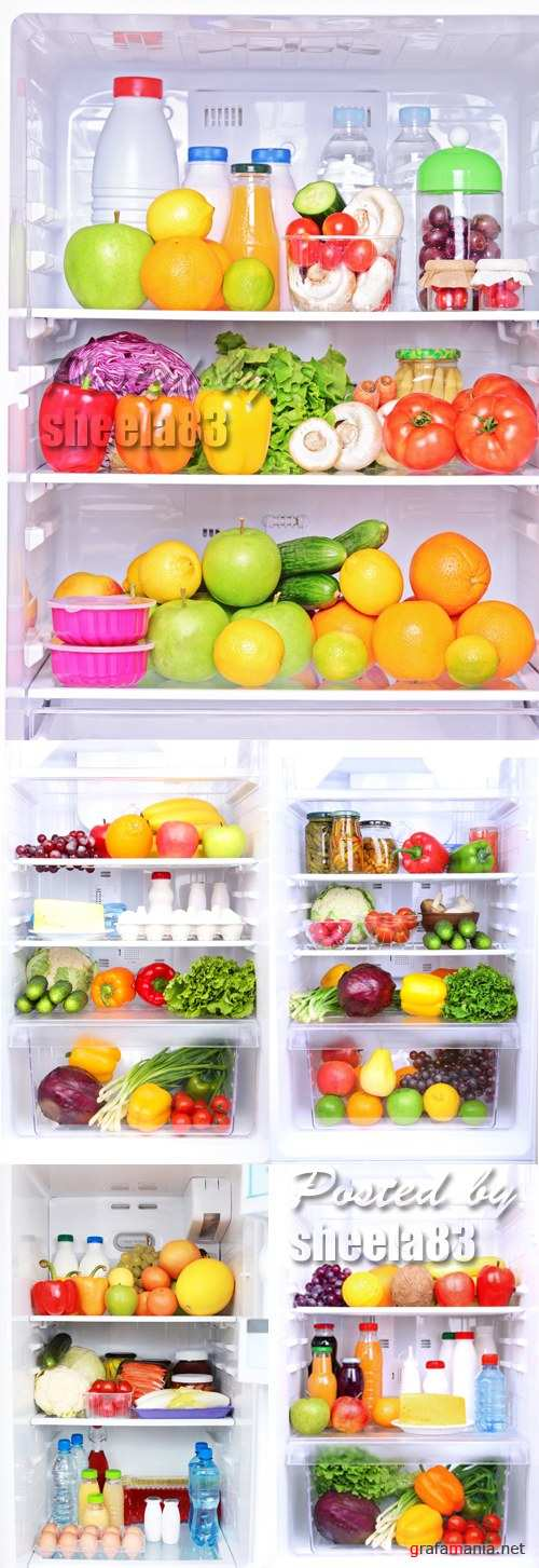 Stock Photo - Refrigerator full of Food