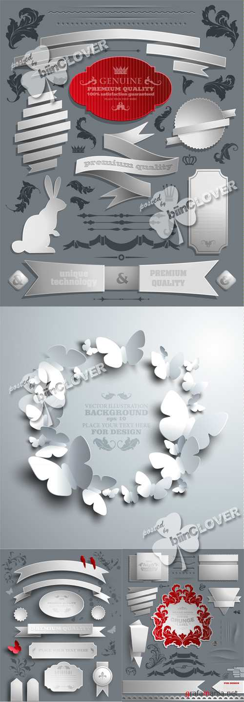 Paper stickers, tags and calligraphic elements 0411