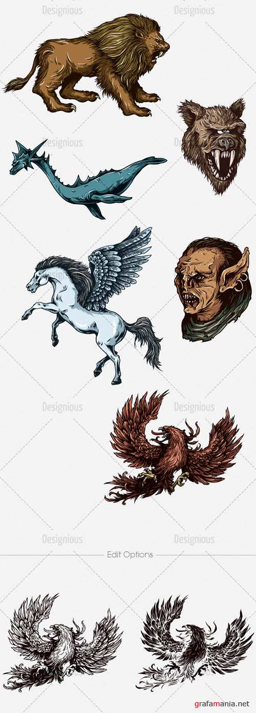 Vector Mythical Creatures Set 6