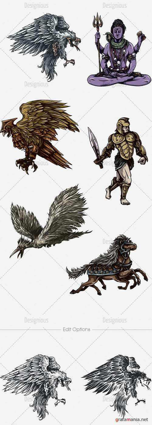 Vector Mythical Creatures Set 7