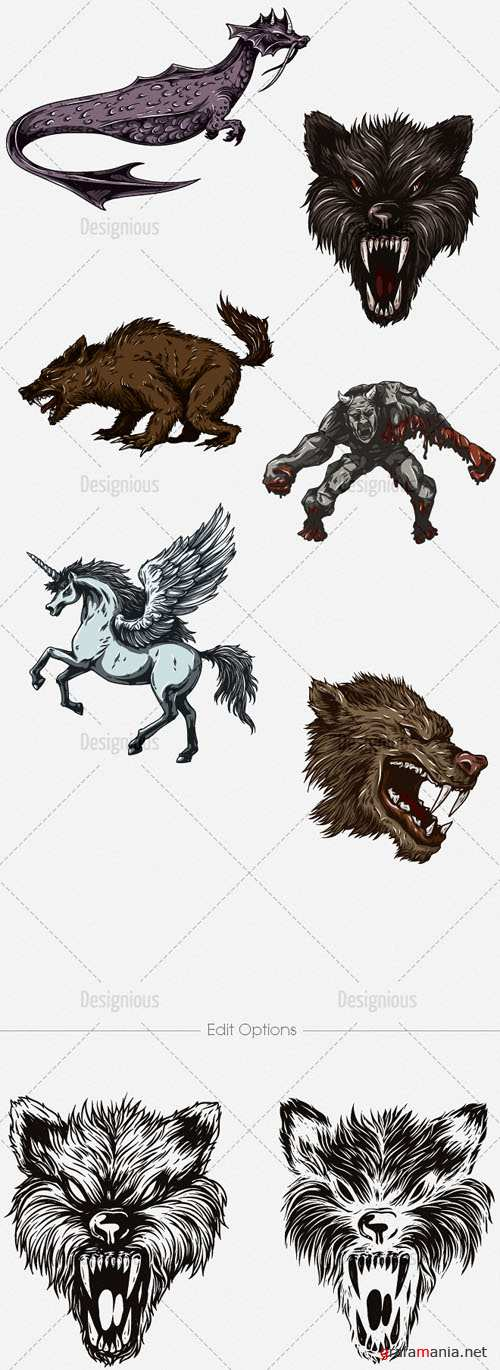Vector Mythical Creatures Set 8