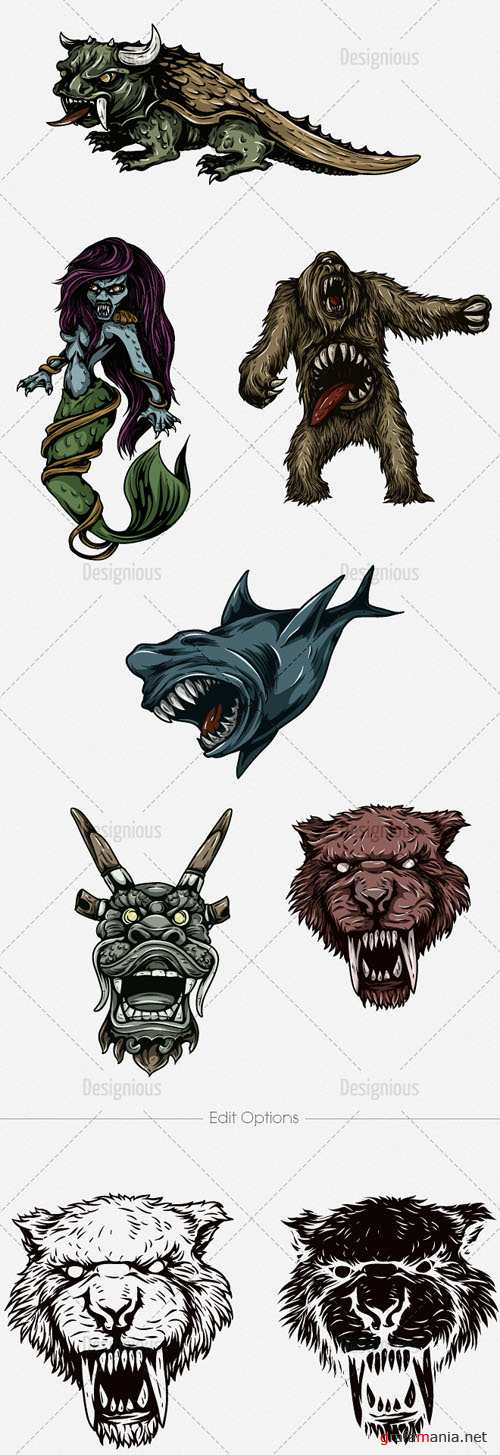 Vector Mythical Creatures Set 9