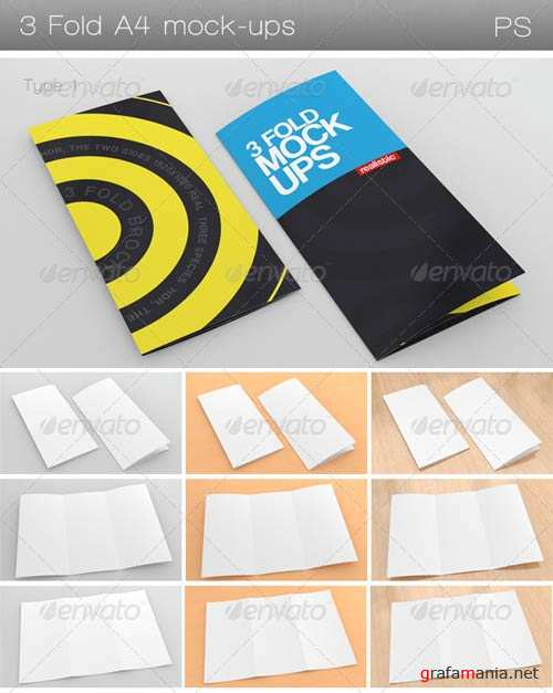 GraphicRiver 3 Fold A4 Mock-Ups