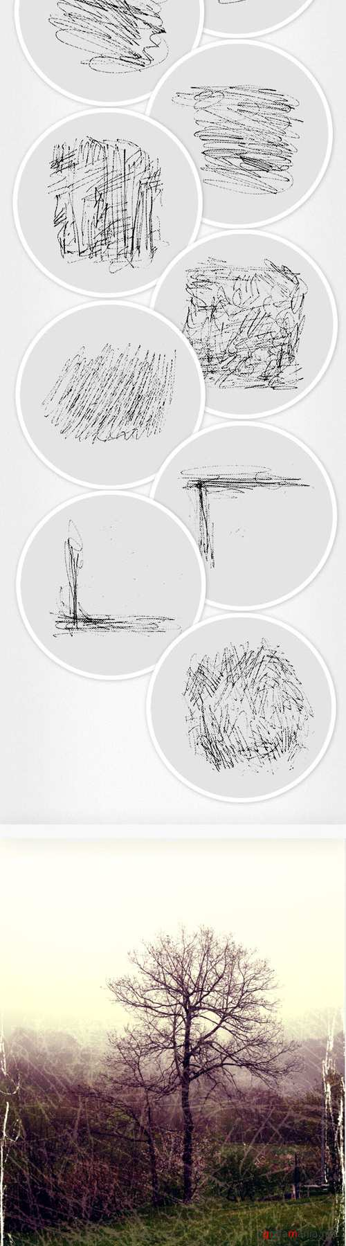 Designtnt - Ink Scratches Photoshop Brushes