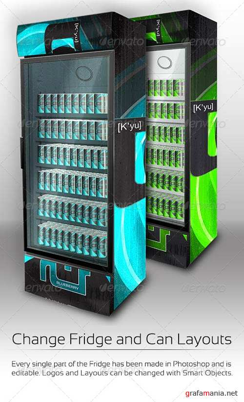 GraphicRiver XL Fridge Mockup with Energy Drink Soda Cans