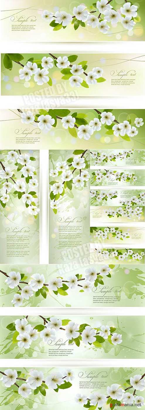 Green spring banners