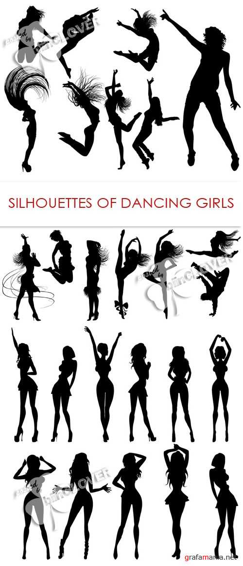 Silhouettes of dancing girls 0416