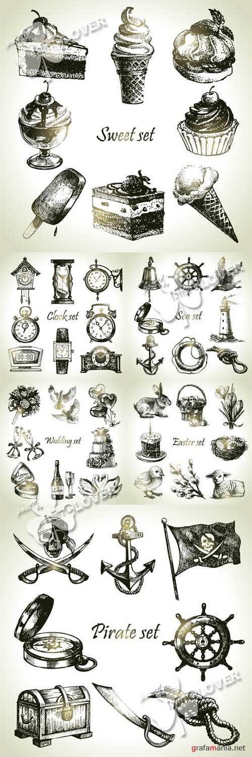 Set of hand drawn illustrations and objects 0416