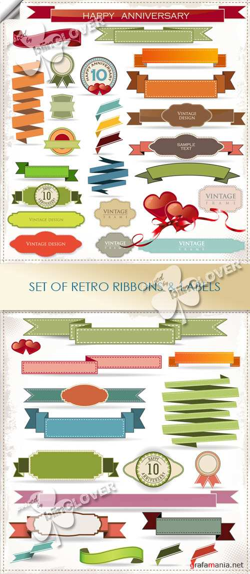 Set of retro ribbons and labels 0421