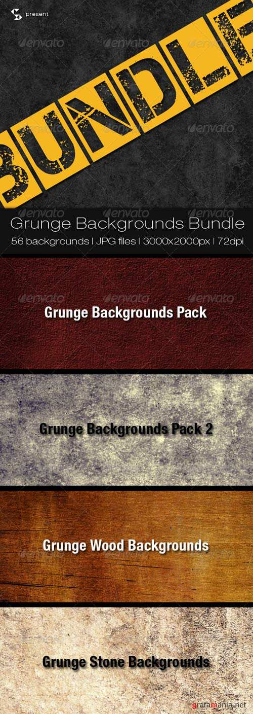 GraphicRiver Stone and Wood Grunge Backgrounds Bundle