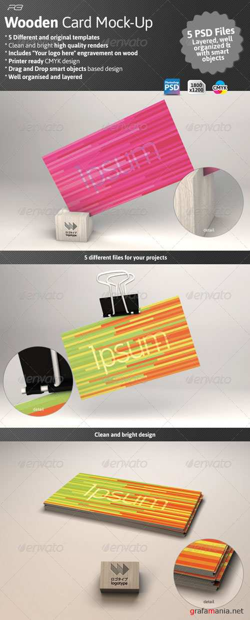 GraphicRiver Business Card Mock Wood Template