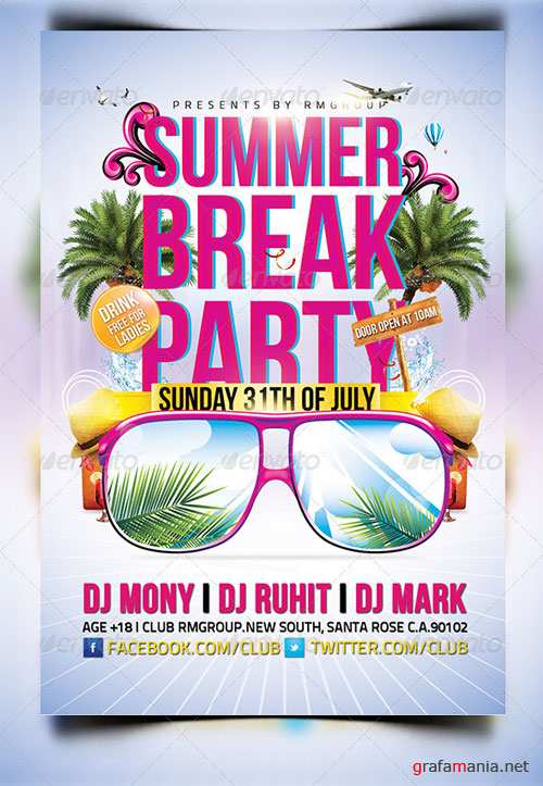 GraphicRiver Summer Break Time Party Flyer Template