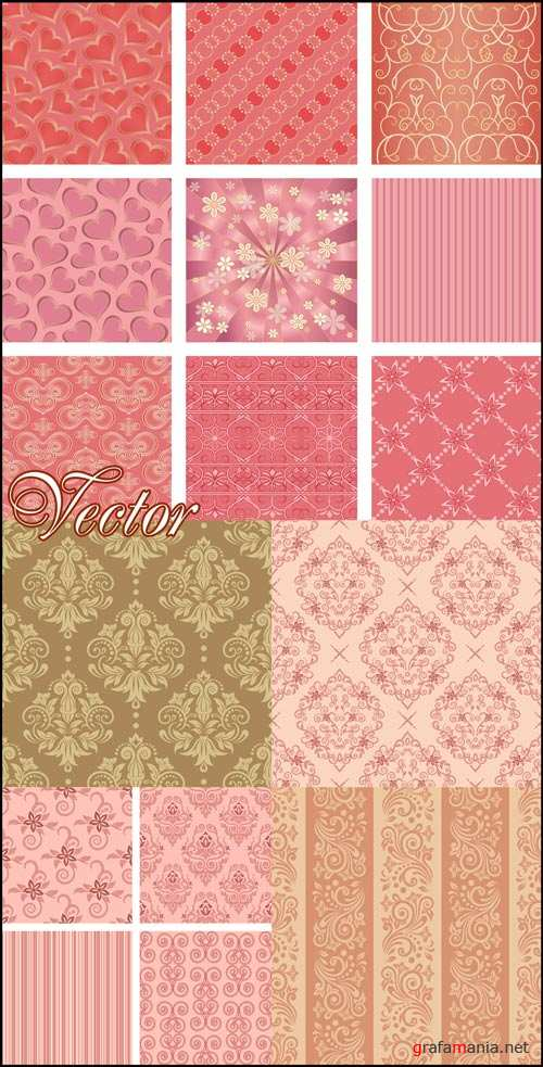 Фоны с узорами и орнаментом / Backgrounds with patterns, floral backgrounds, vector