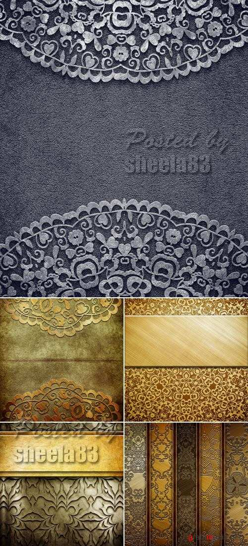 Stock Photo - Grunge Backgrounds with Floral Ornaments