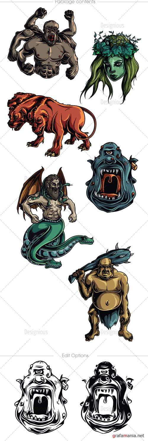 Vector Mythical Creatures Set 11