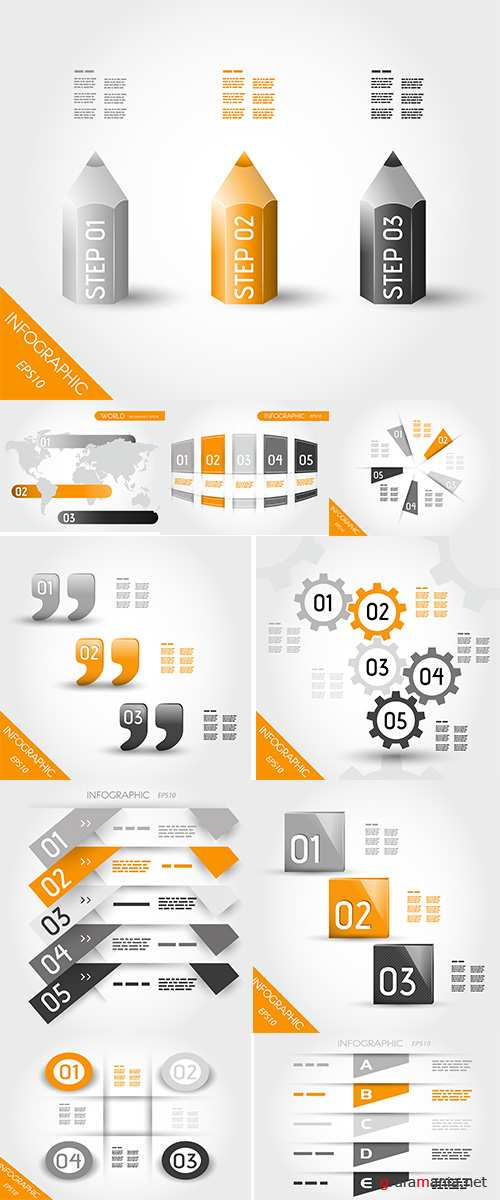 Stock: Orange infographic circle from semicircles