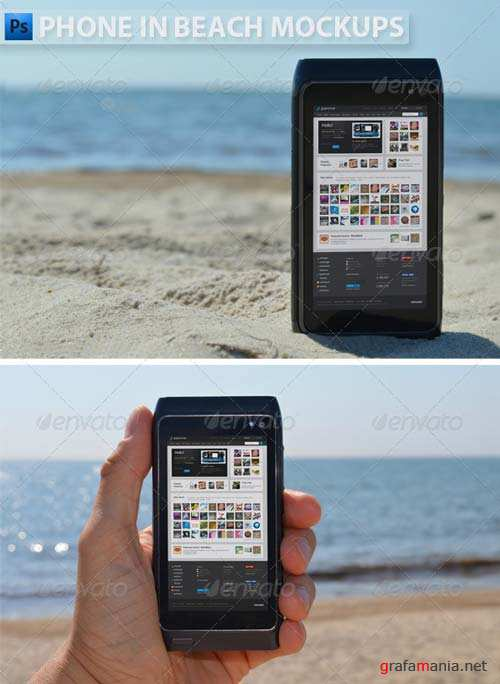 GraphicRiver Phone in Beach Mock-ups
