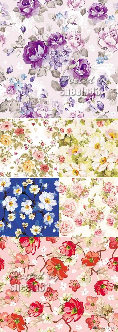 Cute Floral Patterns Vector