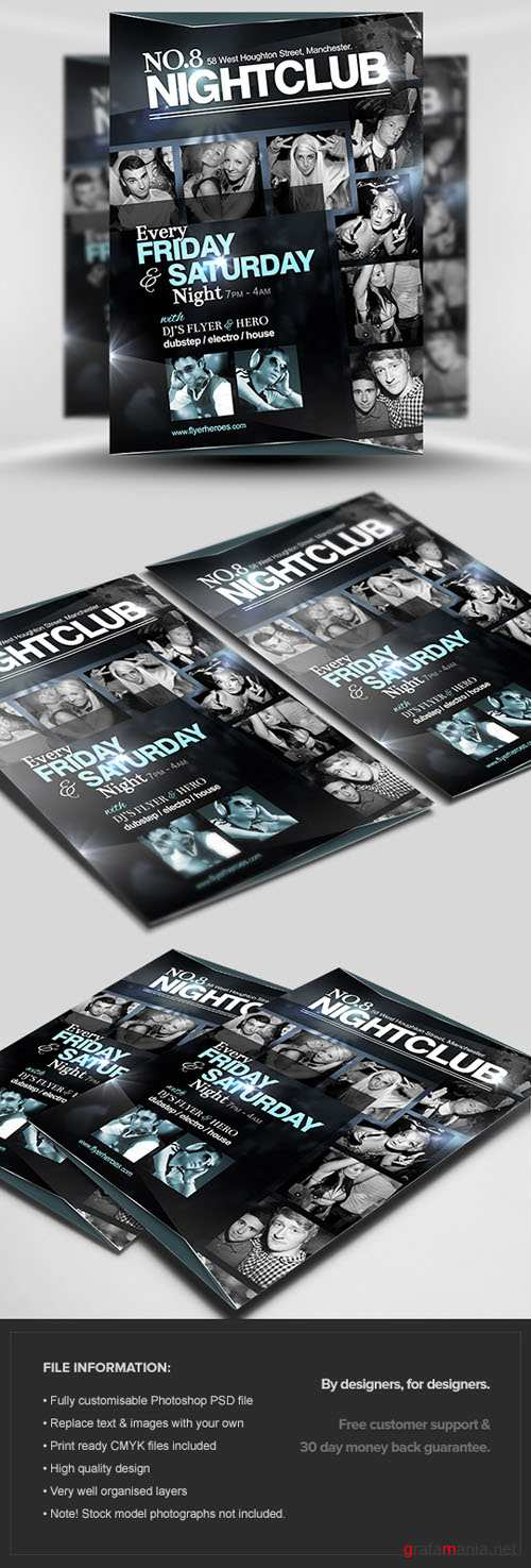 No.8 Nightclub Flyer/Poster PSD Template