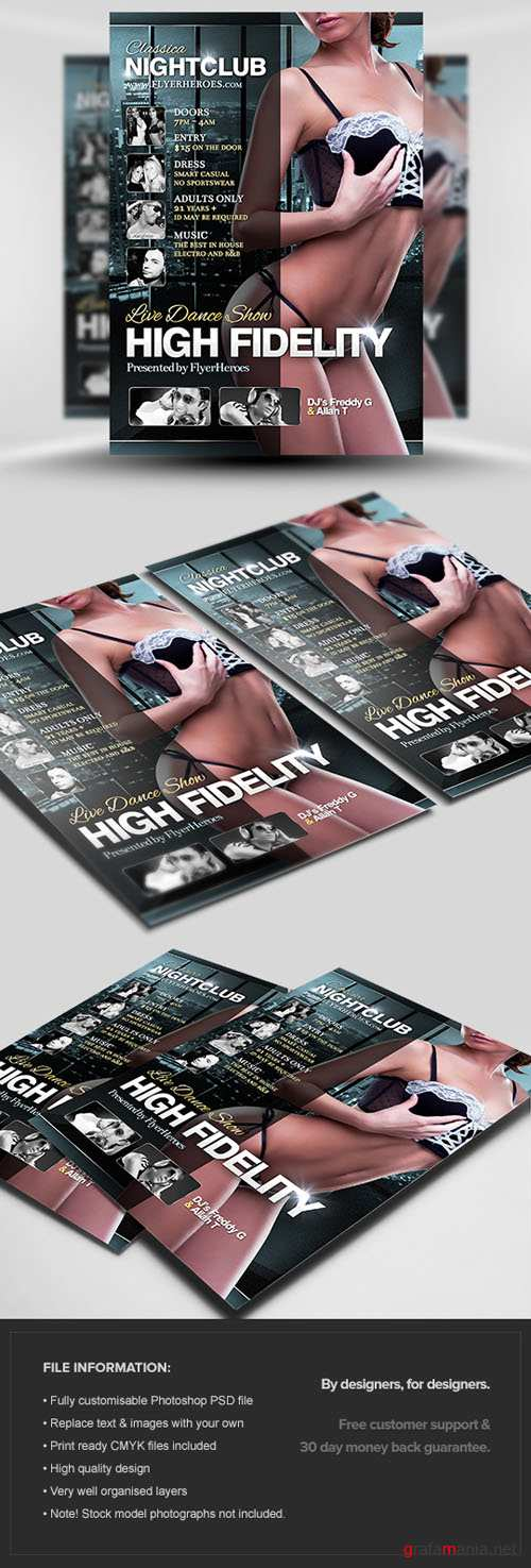 High Fidelity Flyer/Poster PSD Template