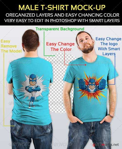 GraphicRiver Male T-Shirt Mock-up 4955028