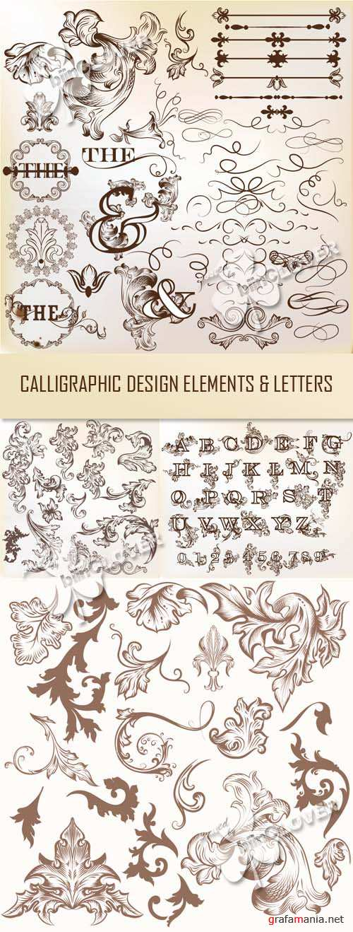 Calligraphic design elements and letters 0444