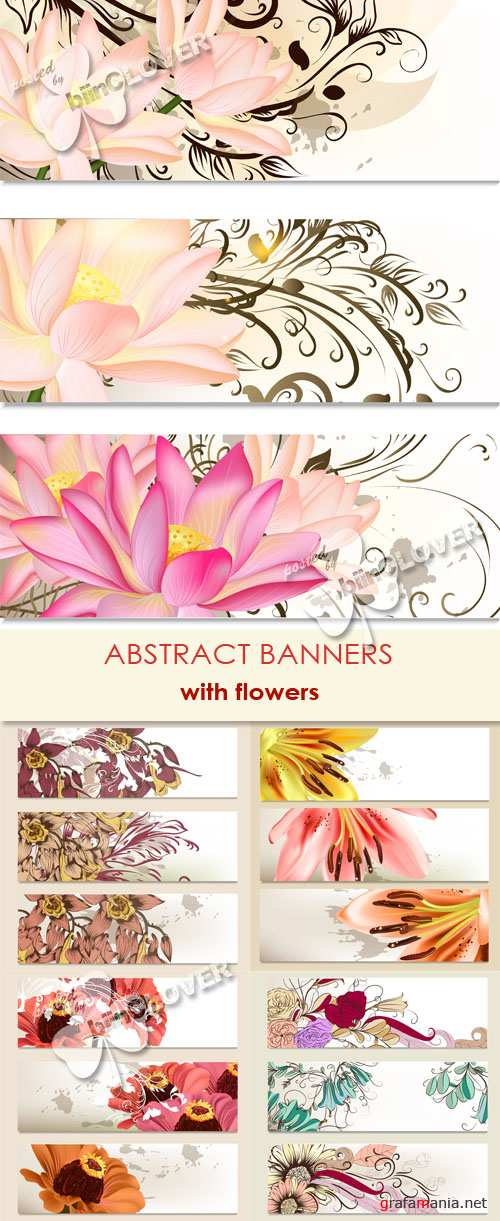 Abstract banners with flowers 0444