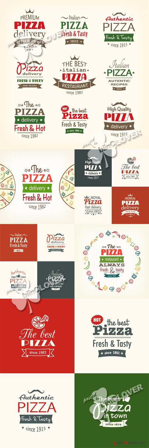 Pizza design elements, labels and banners 0445