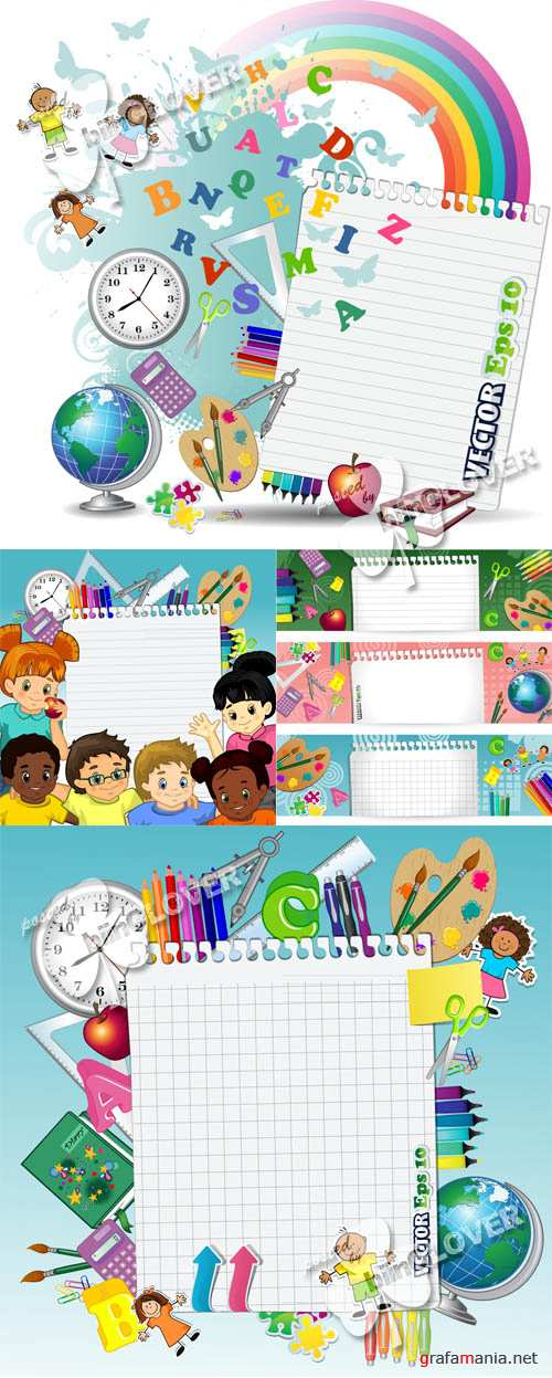 Back to school background and banners 0445