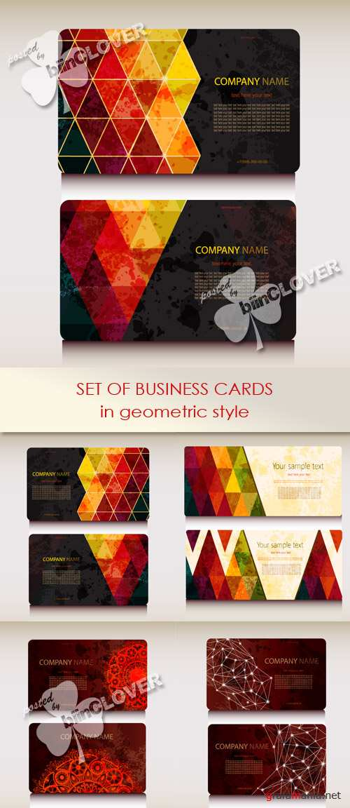 Set of business card in geometric style 0446