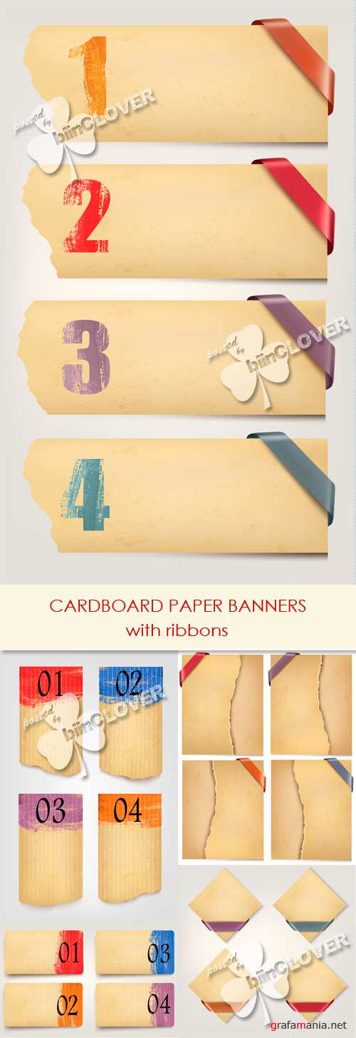 Cardboard paper banners with ribbons 0447