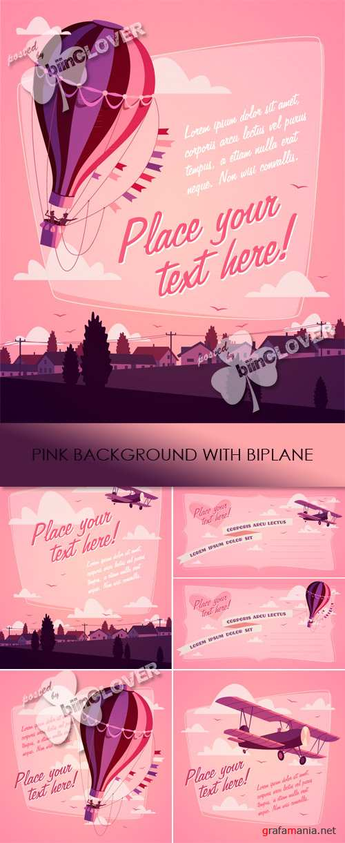 Pink background with biplane 0447