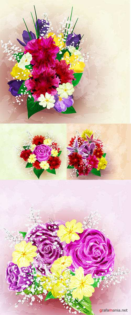 Stock: Painted flower background, vector illustration
