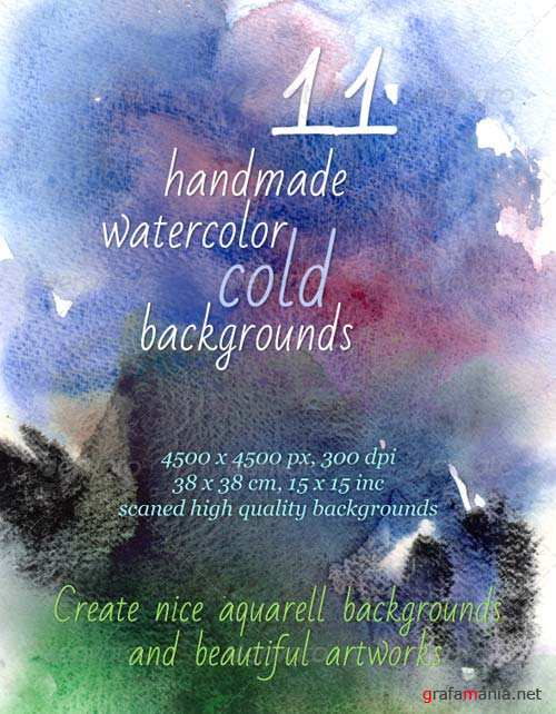 GraphicRiver 11 Handmade Cold Watercolor Backgrounds