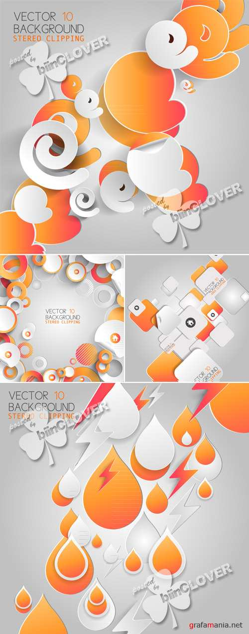 Abstract 3D paper infographic elements 0455