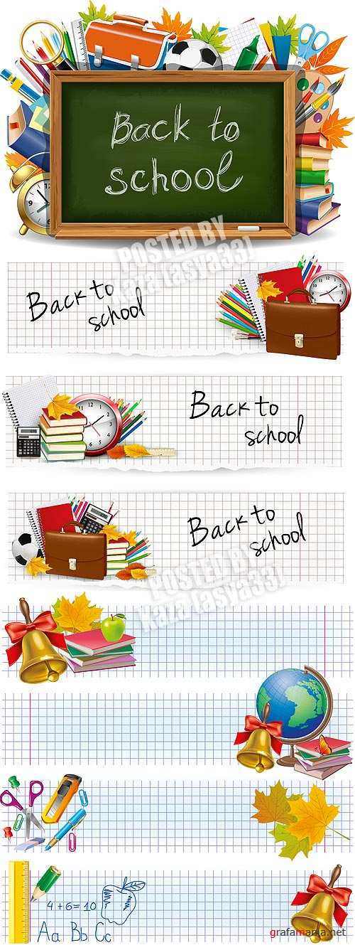 School objects & banners