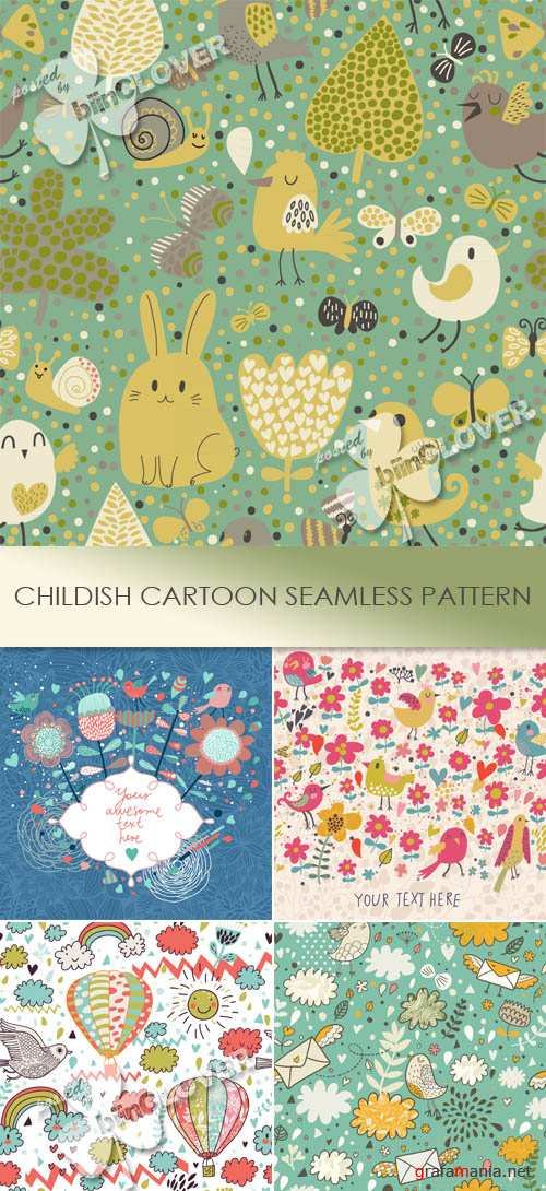 Childish cartoon seamless pattern 0456