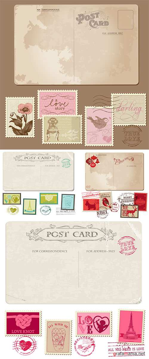 Stock: Vintage Postcard and Postage Stamps