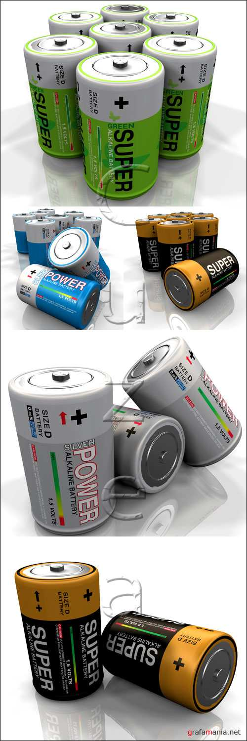 Элементы питания на белом фоне / Battery on white backgrounds - stock photo