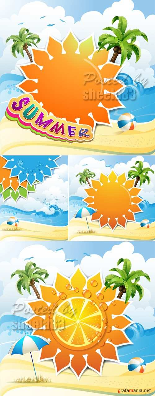 Sunny Summer Backgrounds Vector