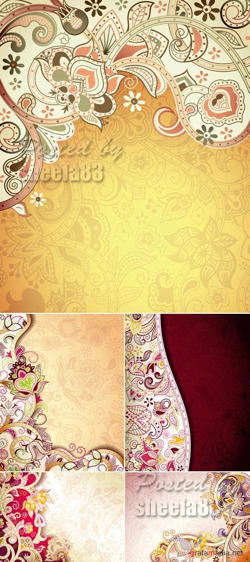 Vintage Floral Patterns Vector 2
