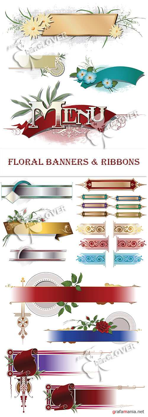 Floral banners and ribbons 0467