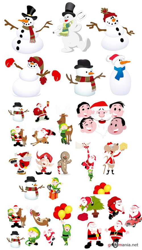 Cartoon Christmas Characters Vector Set
