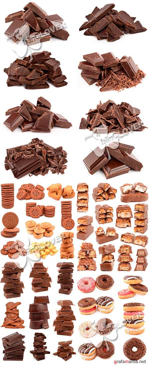 Collection of chocolate, cookies and donuts 0470