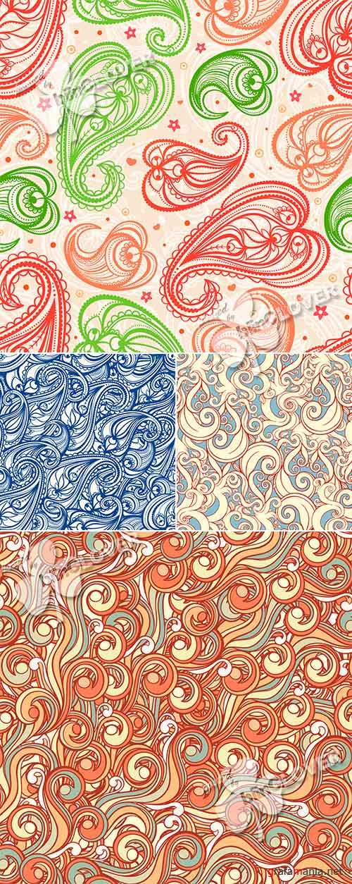 Background with swirls, leaves and paisley 0470
