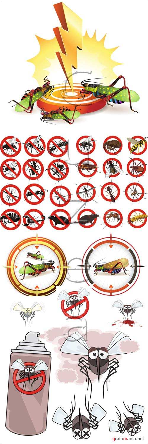 Борьба с насекомыми и грызунами / Fight against insects and pests - vector stock