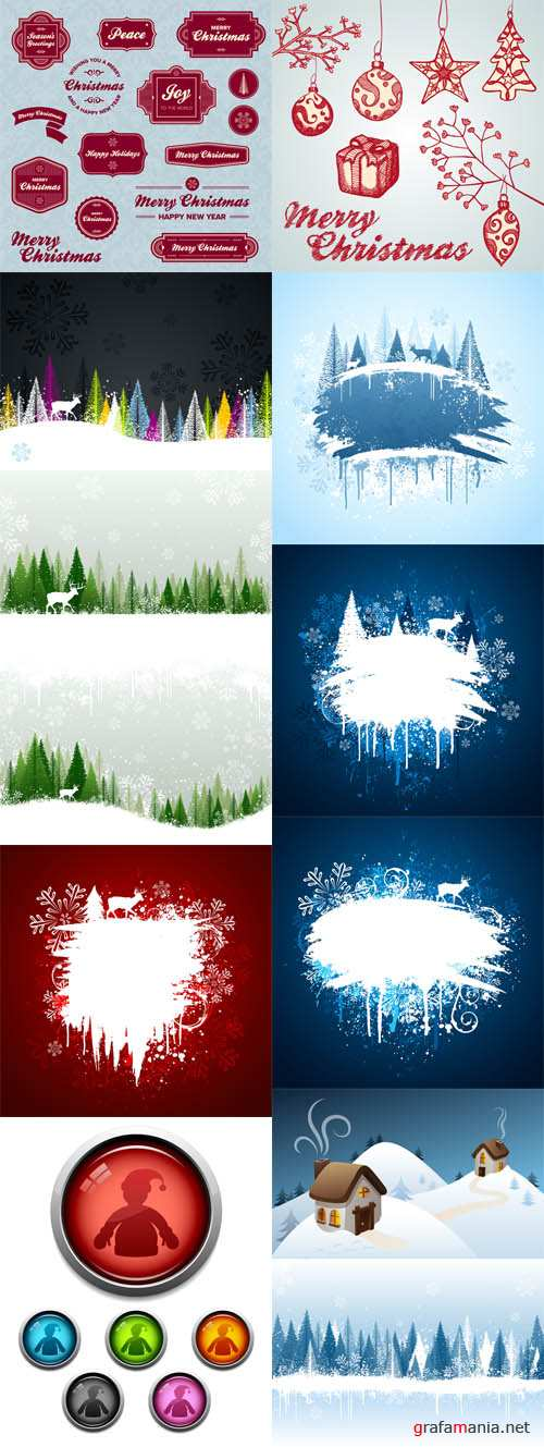 Vector Winter Holiday Images Set